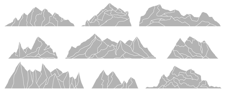 Mountains silhouettes isolated on white background. Panoramas of rocks. Vector set for landscape design.