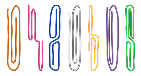 Set of colored paper clips isolated on white background. Tools for education and work. Stationery and office supply. Vector