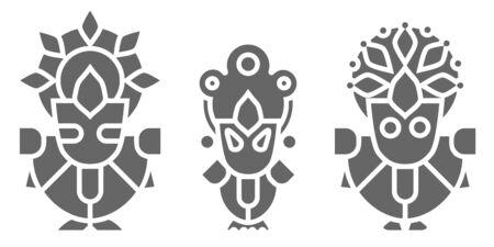 Lord Jagannath, Balabhadra and Subhadra - Orissan God - Ratha Yatra hindu festival in Puri. Vector icon