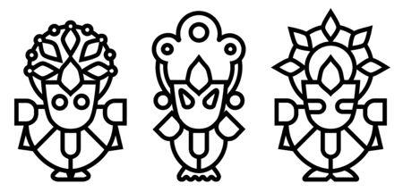 Lord Jagannath, Balabhadra and Subhadra. Orissan God - Ratha Yatra hindu festival in Puri. Vector thin icon.
