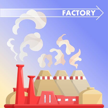 Industrial factory building.City landscape of nuclear power plant.Flat vector.Industry concept manufactory chimney pipe. Banque d'images - 124942830