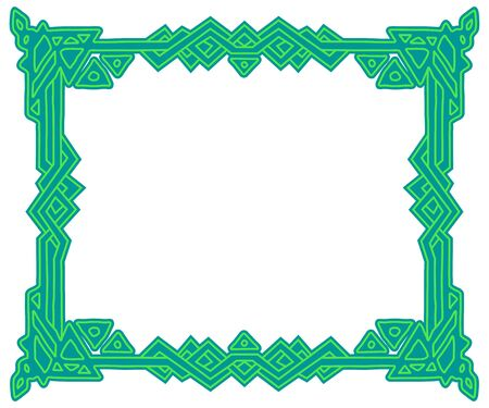 Rectangular frame with ornament isolated on white background. Element for graphic design. Vector