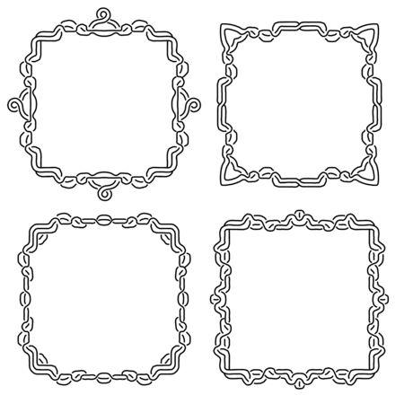 Celtic national ornament square frame. Decorative background. Element for graphic design. Vector