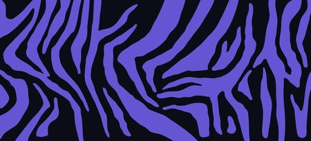 Zebra skin, stripes pattern. Animal print. Black and blue background. Vector texture. Stock Illustratie