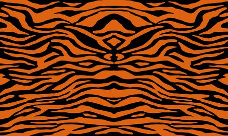 Texture of bengal tiger fur, orange stripes pattern. Animal skin print. Safari seamless background. Vector