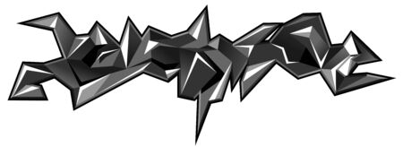 Graffiti urban art illustration. Black and white colors 3d abstract shapes isolated on white background. Printing on t-shirt. Vector Illustration