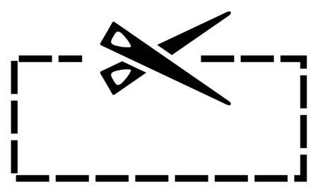 Vector scissors cutting icon, hair cut label. Cut line on white background, black scissors logo