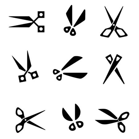 Scissors icon set., Hair cut label, scissors, barber sign. Vector Ilustração