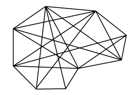 Abstract geometric pattern with network connections. Vector icon Çizim