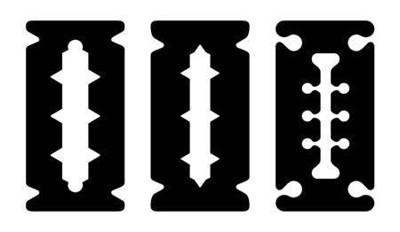 Stainless steel double edge blade, razor blade icon set. Vector