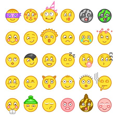 Emotion icon set for web. Happy, sad, angry, in love faces of emoticon. Smiley face simple set with facial expressions isolated in white background. Vector illustration.