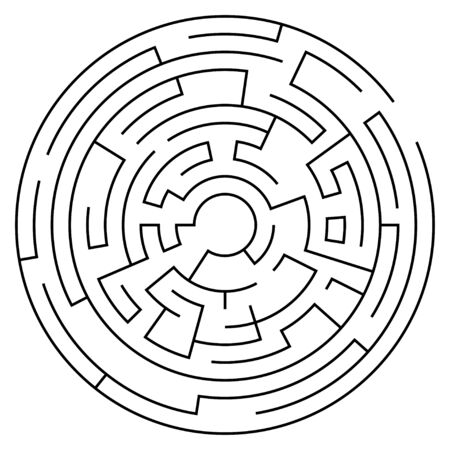 Circular labyrinth with entry and exit. Line maze game. Medium complexity. Vector