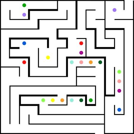 Labyrinth with entry and exit. Line maze game. Easy level complexity. Vector