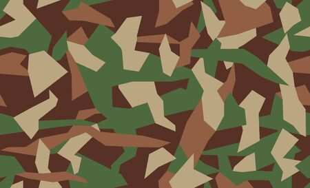 Geometric camo. Triangular Camouflage pattern background, seamless vector illustration. Urban military clothing style. Green, brown, black colors texture. Illustration