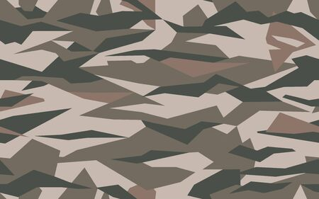 Geometric camouflage pattern in dark brown colors. Army camo seamless texture Vector background