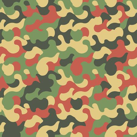 Camouflage seamless pattern. Modern fashion clothing style. Splashes camo repeat print. Green and red color texture. Textile design. Stock vector Illustration