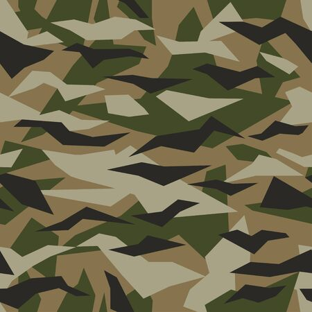 Vector geometric camouflage seamless pattern. Khaki design style for t-shirt. Military texture debris shape pattern, camo clothing while hunting illustration.