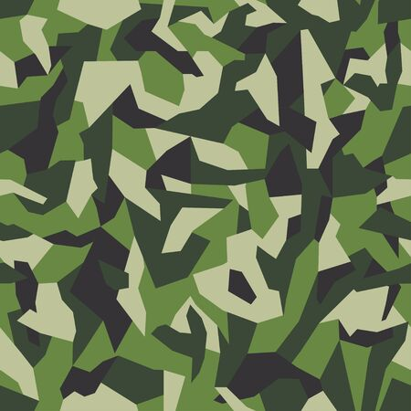 Geometric camouflage seamless pattern background. Classic khaki clothing style masking camo repeat print. Green and black colors forest texture. Vector. 일러스트