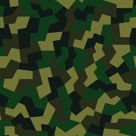 Geometric camouflage pattern background seamless vector illustration. Urban clothing style, masking camo repeat print. Green brown black olive colors forest texture.