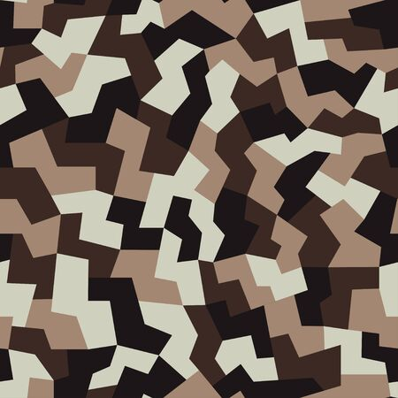 Military camo seamless pattern. Geometric camouflage backdrop in dark brown color. Stock vector background.