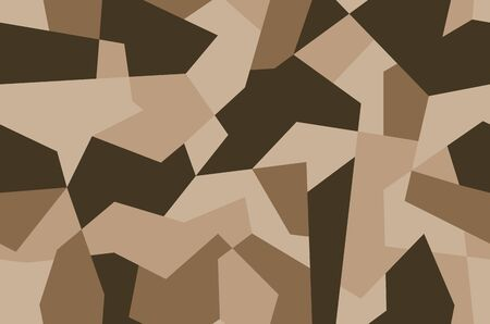Military camo seamless pattern. Geometric camouflage backdrop in sand and desert brown color. Stock vector background.