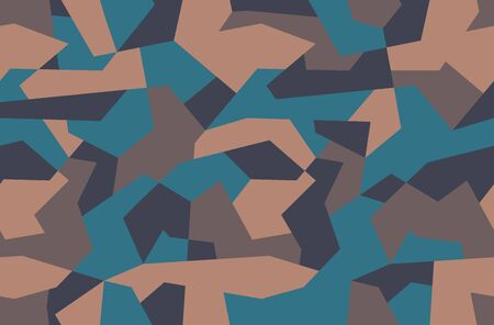 Camouflage pattern. Brown sand and blue seamless texture Geometric ?amo print background. Abstract military style backdrop Stock Illustratie