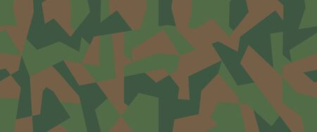 Geometric camo, seamless pattern. Abstract military or hunting camouflage background. Brown, green color texture. Vector illustration