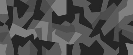 Geometric camouflage seamless pattern. Abstract black and white texture background. Vector illustration.