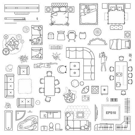 Iconos de plano de planta para diseño interior y proyecto arquitectónico (vista desde arriba). Icono de la delgada línea de muebles en la vista superior para el diseño. Apartamento plano. Vector