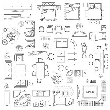 Floor plan icons set for design interior and architectural project (view from above). Furniture thin line icon in top view for layout. Blueprint apartment. Vector Illustration