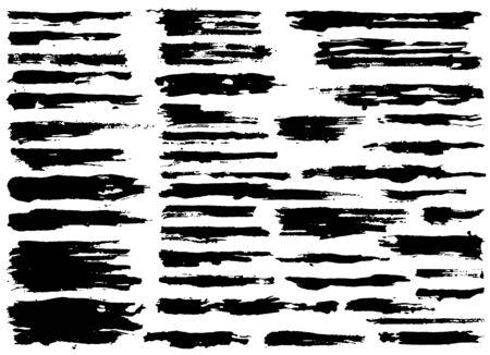 Set of black paint, ink brush strokes, brushes, lines. Dirty artistic grunge design elements. Vector Illustration