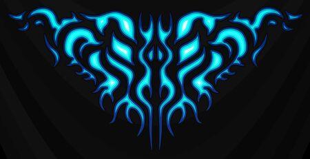 Pegatina de llamas azules tribales de neón en el capó. Gráficos, vinilos y calcomanías para vehículos, bicicletas y coches. Llama abstracta, ilustración vectorial.