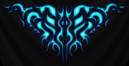 Neon tribal blue flames sticker on the hood. Car Bike Vehicle Graphics, Vinyls & Decals. Abstract flame, vector illustration. Illustration
