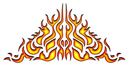 Vehicle sticker - vinyl decals, isolated on white background. Hot fire decal artwork, illustration of pattern fire stencil. Vector Illustration