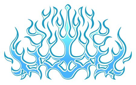 Frozen ice tribal blue flames sticker on the hood. Car Bike Vehicle Graphics, Vinyls & Decals. Abstract fire flame, vector illustration.