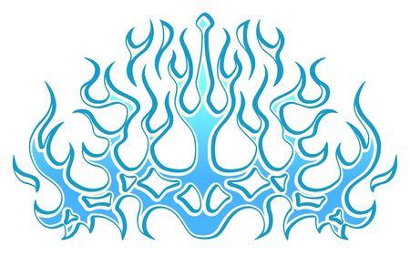 Pegatina de llamas azules tribales de hielo congelado en el capó. Gráficos, vinilos y calcomanías para vehículos, bicicletas y coches. Llama de fuego abstracto, ilustración vectorial.