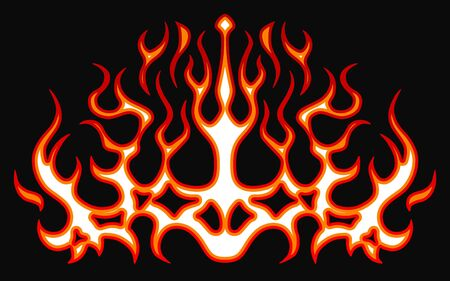 Blazing fire decals for the hood of the car. Hot Rod Racing Flames. Vinyl ready tribal flames. Vehicle and motorbike stickers, with burning effect. Vector.