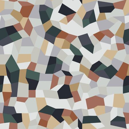 Vector terrazzo seamless pattern. Endless abstract italian type of floor. Trendy flooring background with chaotic colored stones. Colorful mosaic tile with colored polished pebble Illustration
