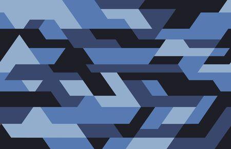 Motivo mimetico futuristico geometrico, sfondo senza soluzione di continuità. Stile di abbigliamento urbano, stampa mimetica a ripetizione. Colori di sfumature blu. Trama vettoriale