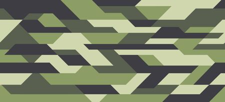 Geometric futuristic camouflage pattern, seamless background. Urban clothing style, masking camo repeat print. Green shades colors. Vector texture Illustration