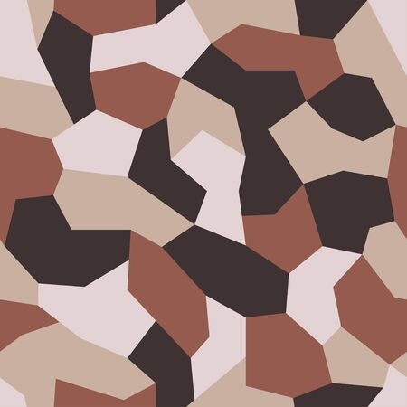 Geometric camouflage vector. Military camo seamless pattern. New soldiers uniform. Background sand and brown