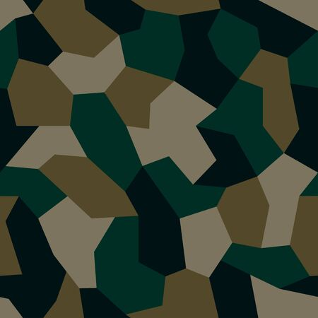 Geometric camouflage. Modern urban camo print for fabric. Green polygon camo pattern, abstract geometric background. Seamless mosaic texture. Vector wallpaper Illustration