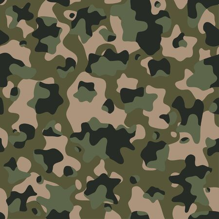 Camouflage pattern background, seamless vector illustration. Classic military clothing style. Masking camo repeat print. Gren khaki texture. Stock Illustratie
