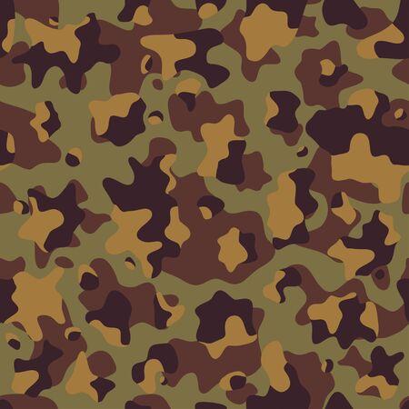 Fondo de camuflaje, ilustración vectorial sin costuras. Estilo clásico de ropa militar. Impresión de repetición de camuflaje enmascarado. Textura del desierto de colores beige, marrón, ocre. Ilustración de vector