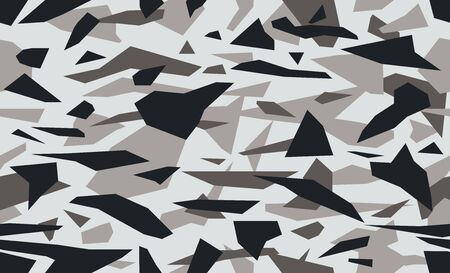 Triangular camouflage pattern background, seamless vector illustration. Masking geometric camo, repeat print. Gray black and white.