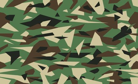 Vector debris camouflage, green military background. Camo pattern of geometric triangles shapes for urban camo clothing. Illustration