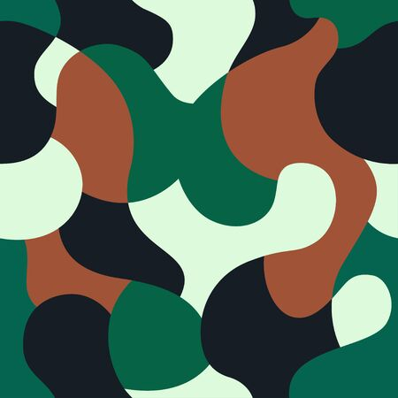 Green camouflage seamless pattern. Vector camo military backgound. Fabric textile print tamplate. Ilustração
