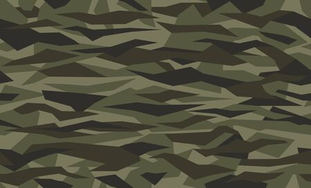 Seamless geometric camouflage pattern. Military texture with debris shape. Dark green, khaki brown. forest, soldier camo background. Vector army fabric textile print.