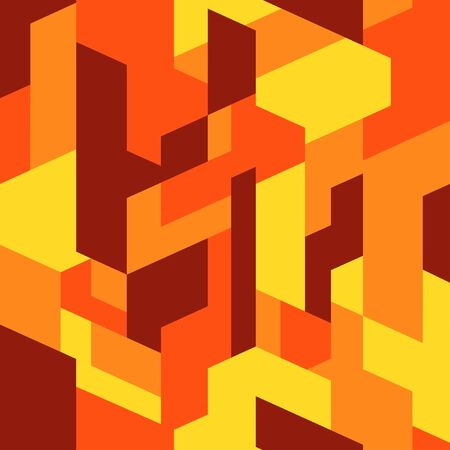 Isometric camouflage pattern background. Urban clothing style, camo repeat print. Orange-yellow colors texture. Vector Illustration