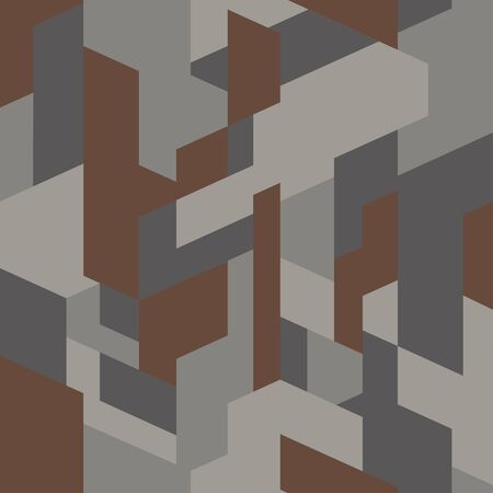 Isometric camouflage fabric. Fashionable texture, vector. Geometric camo polygonal seamless pattern. Brown and gray background. Abstract urban style backdrop.